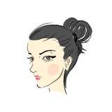 Πρόσωπο χέρι-drawn4 γυναικών Ελεύθερη απεικόνιση δικαιώματος