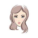 Πρόσωπο χέρι-drawn3 γυναικών Απεικόνιση αποθεμάτων