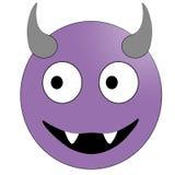 Πρόσωπο χαμόγελου με τα κέρατα Πορφυρός διάβολος emoticon διανυσματική απεικόνιση