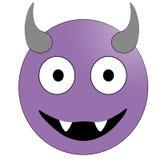 Πρόσωπο χαμόγελου με τα κέρατα Πορφυρός διάβολος emoticon ελεύθερη απεικόνιση δικαιώματος