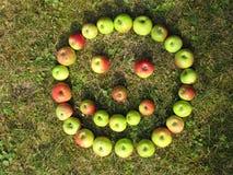 Πρόσωπο χαμόγελου που γίνεται με τα πράσινα κόκκινα μήλα το φθινόπωρο στοκ φωτογραφία