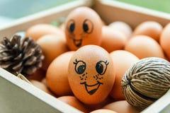 Πρόσωπο χαμόγελου στο αυγό με το σανό και το πεύκο Στοκ Εικόνα