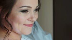 Πρόσωπο χαμόγελου της νύφης απόθεμα βίντεο