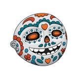 Πρόσωπο χαμόγελου Emoji με το ανοικτό στόμα Dia de Los Muertos αποκριές επίσης corel σύρετε το διάνυσμα απεικόνισης Στοκ φωτογραφία με δικαίωμα ελεύθερης χρήσης
