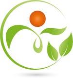 Πρόσωπο ως φυτό και φύλλα, naturopath και λογότυπο wellness διανυσματική απεικόνιση