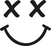 Πρόσωπο Smiley με τα διασχισμένα μάτια διανυσματική απεικόνιση