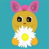 Πρόσωπο Smiley με το λουλούδι Στοκ Εικόνες