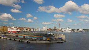 Πρόσδεση στο θαλάσσιο λιμένα Στοκχόλμη, Σουηδία απόθεμα βίντεο