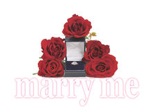 Πρόταση γάμου με τα τριαντάφυλλα και το δαχτυλίδι Στοκ Φωτογραφία