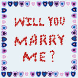 Πρόταση γάμου σε ένα πλαίσιο των καρδιών σε ένα μπλε υπόβαθρο Στοκ φωτογραφία με δικαίωμα ελεύθερης χρήσης
