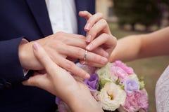 Πρόταση με τα χρυσά δαχτυλίδια Στοκ Εικόνες