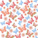 πρότυπα άνευ ραφής Λουλούδια, πεταλούδες ταπετσαρία έκδοσης 0 8 διαθέσιμη eps floral Διακοσμητική διακόσμηση για το ύφασμα, υφαντ Στοκ φωτογραφία με δικαίωμα ελεύθερης χρήσης