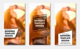 Πρότυπα για τα κάθετα εμβλήματα Ιστού με τα διαφανή άσπρα και μαύρα στοιχεία για το κείμενο ελεύθερη απεικόνιση δικαιώματος