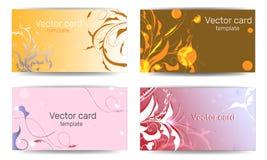 Πρότυπα επαγγελματικών καρτών με τα ρόδινα και πορτοκαλιά floral σχέδια Πλαίσιο κειμένων Αφηρημένο γεωμετρικό έμβλημα διανυσματική απεικόνιση