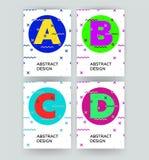 Πρότυπα κάλυψης με τα γραφικά γεωμετρικά στοιχεία ύφους bauhaus Γεωμετρικό σχέδιο hipster Εφαρμόσιμος για τις αφίσσες απεικόνιση αποθεμάτων