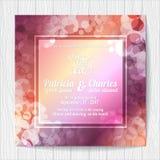 Πρότυπα καρτών γαμήλιας πρόσκλησης, ζωηρόχρωμο υπόβαθρο Στοκ Εικόνα
