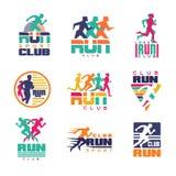 Πρότυπα λογότυπων αθλητικών λεσχών τρεξίματος καθορισμένα, εμβλήματα για το ζωηρόχρωμο διάνυσμα αθλητικών οργανώσεων, πρωταθλημάτ Στοκ Φωτογραφία