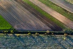 Πρότυπα στα πεδία καλλιεργήσιμου εδάφους στην άνοιξη στοκ εικόνες