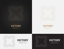 Πρότυπα σχεδίου στα μαύρα, γκρίζα και χρυσά χρώματα Δημιουργικό λογότυπο mandala, εικονίδιο, έμβλημα, σύμβολο Στοκ Εικόνα