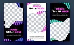 Πρότυπα των κάθετων εμβλημάτων Ιστού του μαύρου χρώματος με μια αφηρημένη μορφή για μια φωτογραφία και των γραμμών χρώματος με μι απεικόνιση αποθεμάτων