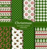 πρότυπα Χριστουγέννων άνε&upsil πολικό καθορισμένο διάνυσμα καρδιών κινούμενων σχεδίων Στοκ Εικόνα