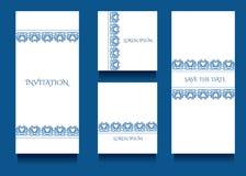 Πρότυπα Decoratove για τις προσκλήσεις και ευχετήριες κάρτες στο floral μοναδικό ύφος gzel Στοκ εικόνες με δικαίωμα ελεύθερης χρήσης