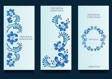 Πρότυπα Decoratove για τις προσκλήσεις και ευχετήριες κάρτες στο floral μοναδικό ύφος gzel Στοκ Φωτογραφίες