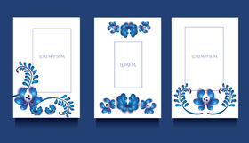 Πρότυπα Decoratove για τις προσκλήσεις και ευχετήριες κάρτες στο floral μοναδικό ύφος gzel Στοκ Φωτογραφία