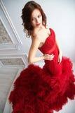 Πρότυπη γυναίκα Brunette ομορφιάς στο κόκκινο φόρεμα βραδιού Όμορφο fash Στοκ φωτογραφίες με δικαίωμα ελεύθερης χρήσης