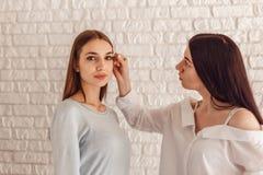 Πρότυπος και makeup καλλιτέχνης κάνετε μια νέα μορφή τα φυσικά φρύδια Στοκ Εικόνες
