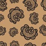 πρότυπο άνευ ραφής μαύρα στοιχεία doodle στο καφετί υπόβαθρο Στοκ Φωτογραφίες
