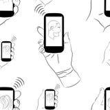 πρότυπο άνευ ραφής Άνδρας και γυναίκα με το κινητό τηλέφωνο Στοκ εικόνα με δικαίωμα ελεύθερης χρήσης