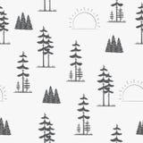 πρότυπο άνευ ραφής δέντρα πεύκων τοπίων Στοκ φωτογραφίες με δικαίωμα ελεύθερης χρήσης