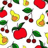 πρότυπο άνευ ραφής Διάνυσμα εικονιδίων φρούτων Στοκ Εικόνες