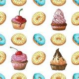 πρότυπο άνευ ραφής Διαφορετικές χρώματα και μορφές γλυκών σε μια άσπρη απομόνωση υποβάθρου Σχέδιο με τα γλυκά Παρασκευή συρμένο χ Στοκ Εικόνα