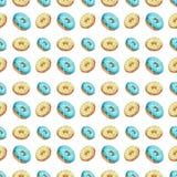 πρότυπο άνευ ραφής Διαφορετικές χρώματα και μορφές Donuts σε μια άσπρη απομόνωση υποβάθρου Στοκ φωτογραφία με δικαίωμα ελεύθερης χρήσης