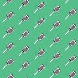 πρότυπο άνευ ραφής Εκλεκτής ποιότητας συστάσεις υποβάθρου μικροφώνων, συρμένο χέρι doodle ύφος Στοκ Φωτογραφία