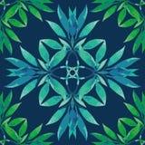 πρότυπο άνευ ραφής Μίσχοι Watercolor με τα φύλλα απεικόνιση αποθεμάτων