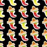 πρότυπο άνευ ραφής Μεξικάνικο κόκκινο και κίτρινο πιπέρι Χέρι που σύρεται stic Στοκ Εικόνα
