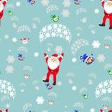 πρότυπο άνευ ραφής Νέες διακοπές Χριστουγέννων έτους s Μύγες Άγιου Βασίλη σε ένα αλεξίπτωτο με το κορίτσι και τη νεράιδα χρωματισ ελεύθερη απεικόνιση δικαιώματος