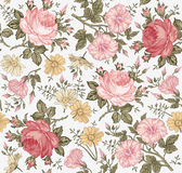 πρότυπο άνευ ραφής Ρεαλιστικά απομονωμένα λουλούδια γεωμετρικός παλαιός τρύγος εγγράφου διακοσμήσεων ανασκόπησης διανυσματική απεικόνιση