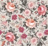 πρότυπο άνευ ραφής Ρεαλιστικά απομονωμένα λουλούδια γεωμετρικός παλαιός τρύγος εγγράφου διακοσμήσεων ανασκόπησης Στοκ Εικόνες