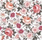 πρότυπο άνευ ραφής Ρεαλιστικά λουλούδια γεωμετρικός παλαιός τρύγος εγγράφου διακοσμήσεων ανασκόπησης Στοκ Εικόνες