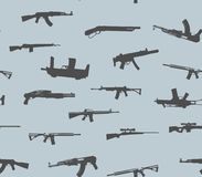 πρότυπο άνευ ραφής Σκιαγραφίες πυροβόλων όπλων επίσης corel σύρετε το διάνυσμα απεικόνισης Στοκ φωτογραφία με δικαίωμα ελεύθερης χρήσης