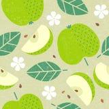 πρότυπο άνευ ραφής Τα juicy φρούτα της Apple φεύγουν και ανθίζουν απεικόνιση αποθεμάτων