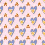 πρότυπο άνευ ραφής Τυπωμένη ύλη αγάπης Διακοσμητικό σχέδιο με συρμένες τις χέρι καρδιές ελεύθερη απεικόνιση δικαιώματος