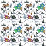 πρότυπο άνευ ραφής Χειμερινό τοπίο με τα σπίτια και τα δέντρα Στοκ Εικόνες