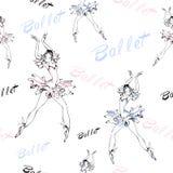 πρότυπο άνευ ραφής ballgames τις μαύρες χορεύοντας απεικονίσεις ballerinas που τίθενται το διανυσματικό λευκό επιγραφή επίσης cor ελεύθερη απεικόνιση δικαιώματος