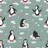 πρότυπο άνευ ραφής Penguins στους επιπλέοντες πάγους πάγου διανυσματική απεικόνιση