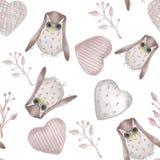 πρότυπο άνευ ραφής Watercolor κουκουβάγιες, κλάδοι και καρδιές ύφους γεμισμένες κλωστοϋφαντουργικό προϊόν ελεύθερη απεικόνιση δικαιώματος